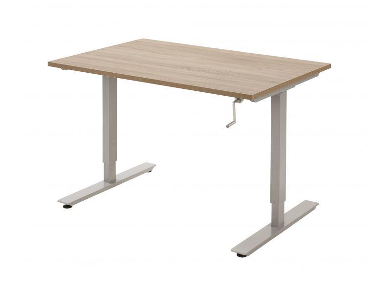 Zit/sta bureau, 120x80cm blad, aluminium onderstel, wit blad